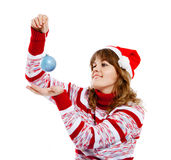 Beautiful woman in christmas hat Stock Photography