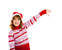 Beautiful woman in christmas hat Stock Images