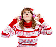 Beautiful woman in christmas hat Royalty Free Stock Photo