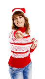 Beautiful woman in christmas hat Stock Image