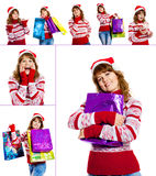Beautiful woman in christmas hat. Collage Stock Photos