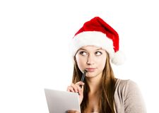 Beautiful woman with christmas hat Stock Image