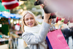 Beautiful woman at Christmas market Stock Images