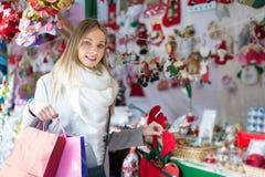 Beautiful woman at Christmas market Stock Image