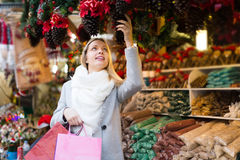 Beautiful woman at Christmas market Royalty Free Stock Photo