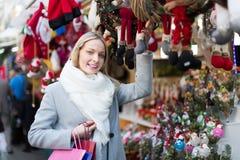 Beautiful woman at Christmas market Stock Photography