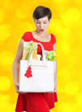 Beautiful woman with Christmas presents Stock Image