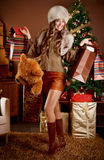 Beautiful woman with Christmas presents Royalty Free Stock Photography