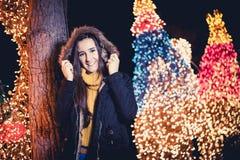 Beautiful woman on christmas Stock Photos