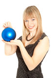 Beautiful woman with christmas toy Stock Images