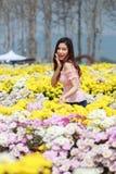 Beautiful woman in chrysanthemum glower garden Royalty Free Stock Image