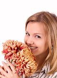 Beautiful woman with chrysanthemums Stock Photos