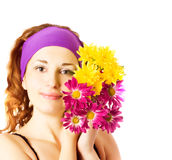 Beautiful woman with chrysanthemums Royalty Free Stock Photography