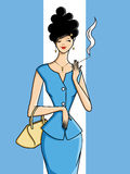 Beautiful-woman-with-a-cigarette. Royalty Free Stock Images