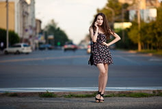 Beautiful woman in the city Royalty Free Stock Photography
