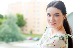 Beautiful woman in the city Stock Photography