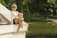 Beautiful  woman in the city Park of Warsaw. Stock Photos