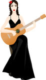 Beautiful woman with classical guitar Stock Photography