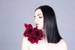 Beautiful woman with clean face, dark hair and red flower on the shoulder Stock Photography