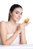Beautiful Woman with Clean Fresh Skin. Young spa woman touching her face after beauty treatment Royalty Free Stock Photo