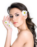 Beautiful woman with clean skin of the face Stock Photo