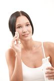 Beautiful Woman Cleaning Face Stock Photo