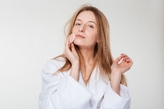 Beautiful woman cleaning face Royalty Free Stock Photo
