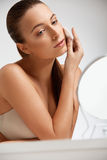 Beautiful Woman Cleaning Her Face. Cosmetology and Make up. Skin Stock Photography