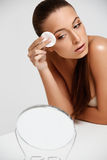 Beautiful Woman Cleaning Her Face. Cosmetology and Make up. Skin Royalty Free Stock Image