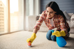 Beautiful woman cleaning house Stock Photography
