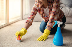 Beautiful woman cleaning house Stock Images
