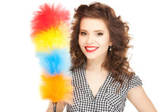 Beautiful woman with cleaning sweep Royalty Free Stock Photo