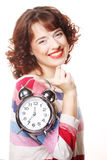 Beautiful woman with the clock Stock Photography