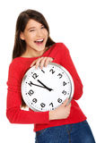 Beautiful woman with the clock. Stock Image