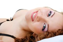 Beautiful woman close up relaxing Royalty Free Stock Image