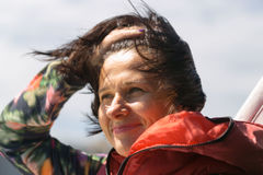 Beautiful woman close-up on a strong wind Stock Photography