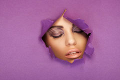 Beautiful woman with closed eyes Stock Photos