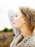 Beautiful Woman with Closed Eyes, outdoor Royalty Free Stock Image