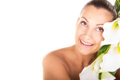 Beautiful woman closeup face portrait with white flowers Royalty Free Stock Photography