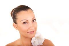 Beautiful woman closeup face portrait Stock Photo