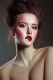 Beautiful Woman Closeup Portrait with Creative Fashion Art Makeu Stock Images