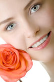 Beautiful woman closeup rose Royalty Free Stock Image