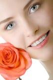 Beautiful woman closeup rose Royalty Free Stock Image