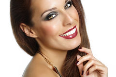Beautiful Woman. Closeup of a smiling woman with beautiful makeup Royalty Free Stock Photos