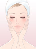 Beautiful woman closing her eyes after facial care. Beautiful girl,spa woman,closing her eyes Stock Photography