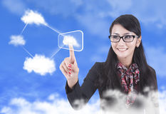 Beautiful Woman with Cloud computing concept Stock Image