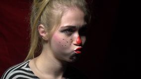 Woman With Clown Halloween Makeup Stock Footage - Video of