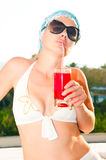 Beautiful woman with cocktail Royalty Free Stock Image