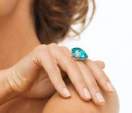 Beautiful woman with cocktail ring. Wedding, bridal, jewellery and luxury concept - picture of beautiful woman with cocktail ring Stock Photos