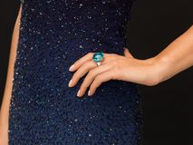 Beautiful woman with cocktail ring. Wedding, bridal, jewellery and luxury concept - picture of beautiful woman with cocktail ring Stock Photography